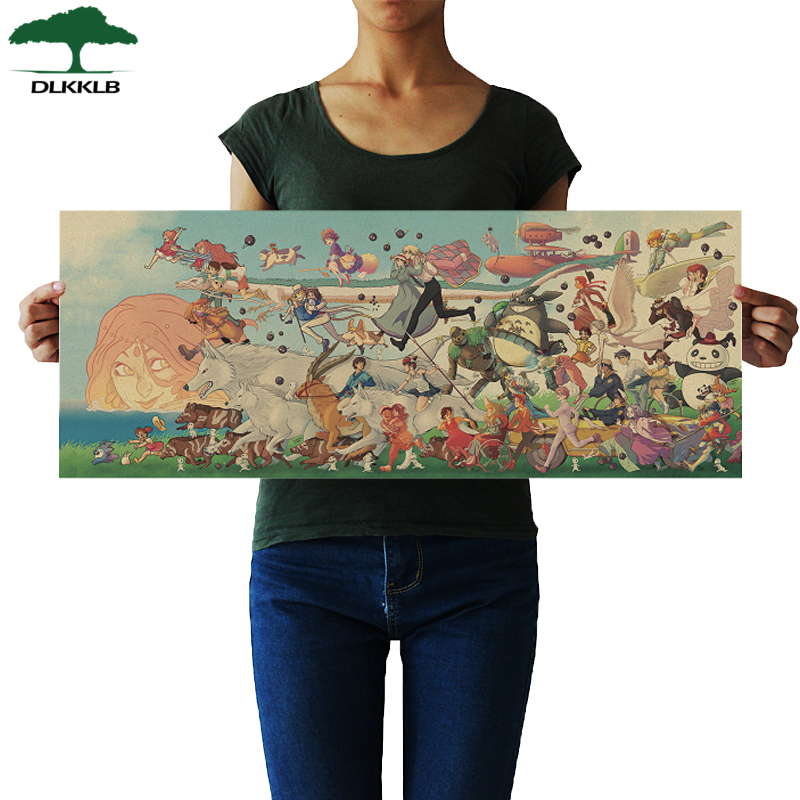 DLKKLB Classic Anime Poster Hayao Miyazaki Anime Character Collection Vintage Dormitory Wall Sticker Home Decorative Painting