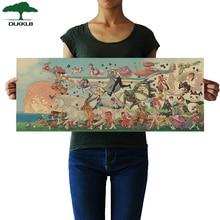 DLKKLB póster de Anime clásico de Hayao Miyazaki colección de personajes de Anime Vintage pegatina de pared del dormitorio pintura decorativa para el hogar