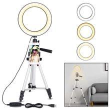 7.9 cala Photo Studio stojak na telefon z LED Beauty lampa pierścieniowa fotografia możliwość przyciemniania lampa światła wypełniającego + statyw do Selfie Live Show