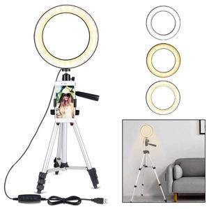 Image 1 - 7.9 inch Photo Studio Phone Stand with LED Beauty Ring Light Photography Dimmable Fill in Light Lamp+Tripod For Selfie Live Show