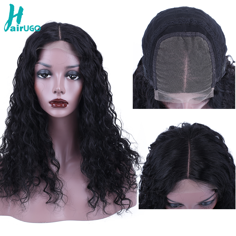 HairUGo 4*4 Lace Closure Human Hair Wigs Deep Wave Lace Closure Wig For Women Pre Plucked Peruvian Remy 150% Lace Closure Wigs