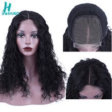 HairUGo 4*4 Lace Closure Human Hair Wigs Deep Wave Lace Closure Wig For Women Pre Plucked Peruvian Remy 150% Lace Closure Wigs(China)