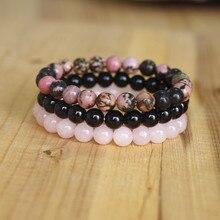 8 мм натуральный камень браслет Наборы для мужчин и женщин Родонит розовый кварц черный оникс бисером Штабелируемый запястье Мала Шарм Браслеты