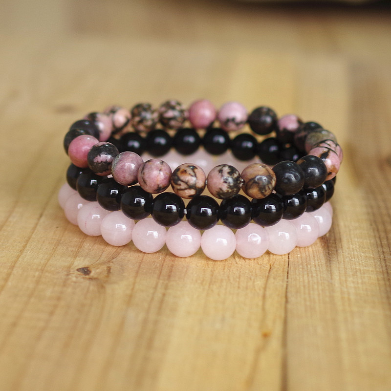 8mm Natural Stone Bracelet Sets Men Women Rhodonite Rose Quartzs Black Onyx Beaded Stackable Wrist Mala Charm Bracelets