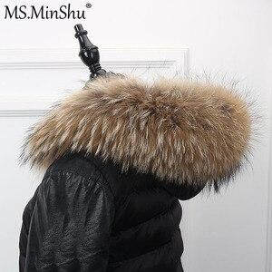 Image 2 - さん minShu ビッグ毛皮の襟本物のアライグマの毛皮フードトリムスカーフ黒色パーカーコートの毛皮の襟スカーフカスタムメイド
