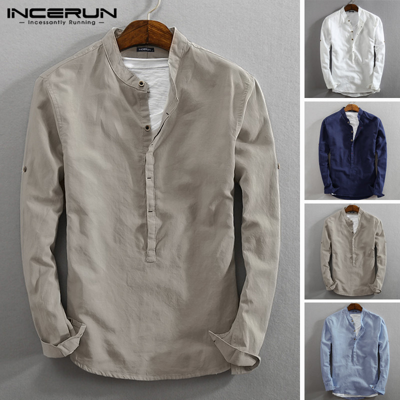 INCERUN Vintage Men Casual Shirt Long Sleeve Cotton Linen Stand Collar Solid Business Streetwear Henley Shirts Men Harajuku 2019