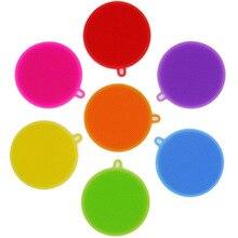 Креативная силиконовая губка для мытья посуды, многофункциональная круглая силиконовая щетка, фрукты, антибактериальный цвет