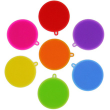 Creative Silicone Dishwashing Sponge Brush Multifunctional Round Silicone Brush Fruit Antibacterial Kitchen Cleaning Pad
