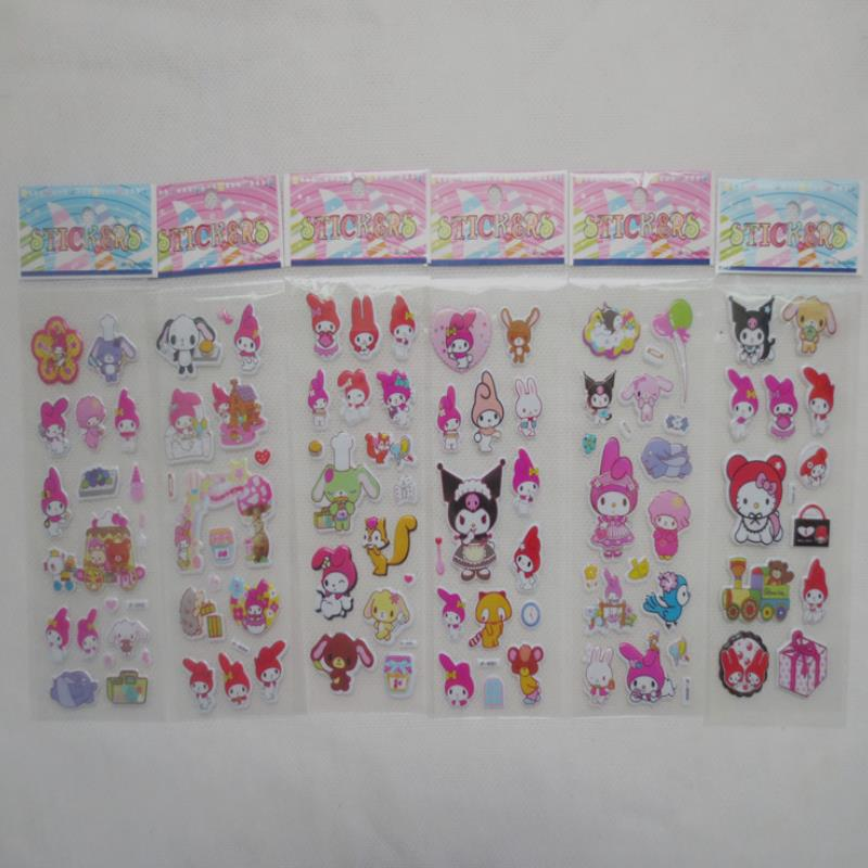 20sheets/set Lovely My Melody Kuromi Rabbit Decorative PVC Stickers DIY Phone Diary Phone Album Stickers Toys For Kids Gift