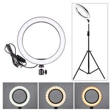 5/12W LED Selfie 링 라이트 스튜디오 사진 사진 조명 채우기 라이트 삼각대 휴대 전화 라이브 메이크업 160MM/260MM 옵션