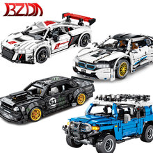 BZDA High-Tech Red Track Racing Car Building Blocks City Vehicle Speed Champion Car Model Bricks Toys For Children Boys
