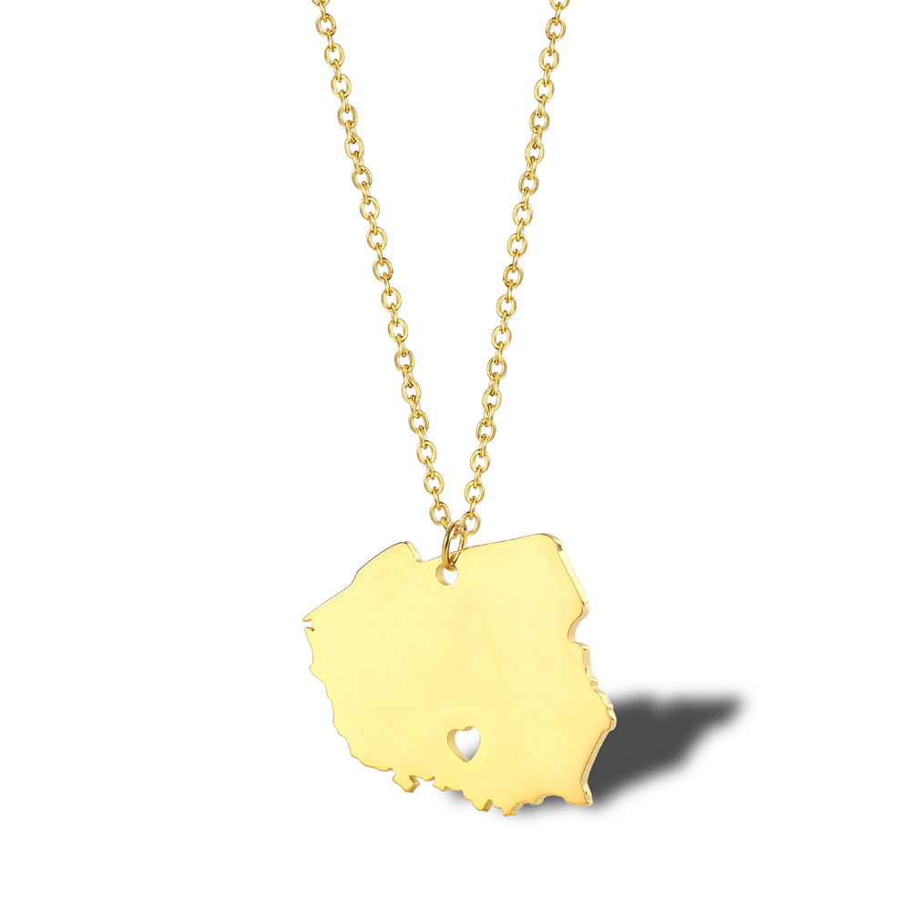 Legenstar Fashion Poland Country Map Chain Pendant Necklace for Women Men Gold Silver Stainless Steel Hip-hop Jewelry Choke 2019
