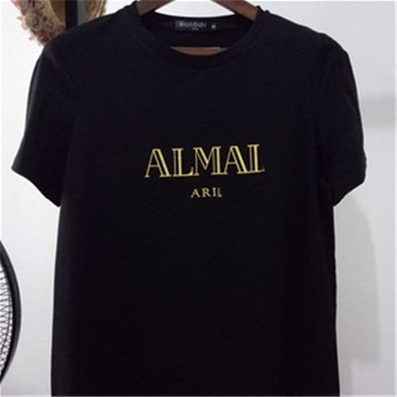 Женская футболка с буквенным принтом, повседневная хлопковая Футболка с вышивкой, весна 2021