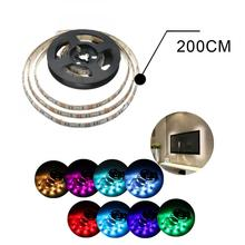 Waterproof 200cm/6.5feet Wall 60 Leds 5050 RGB USB Strip Light with Mini Controller Suit Powered by USB 5V for Notebook PC TV