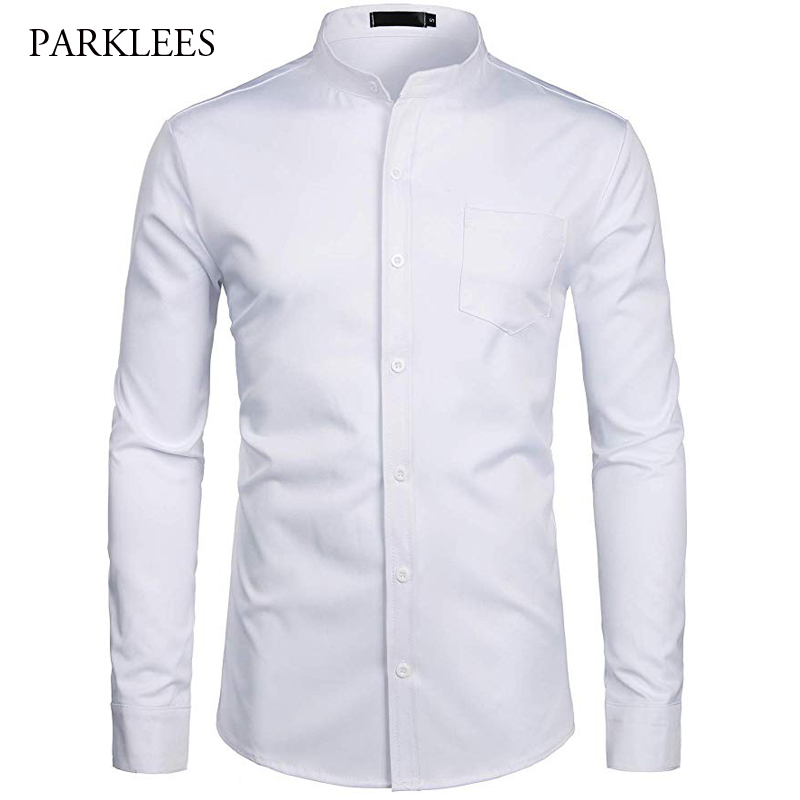 White Shirt Men Business Solid Color Pocket Men Shirt Casual Slim Fit Wedding Prom Mens Dress Shirt Long Sleeve Camisas Hombre