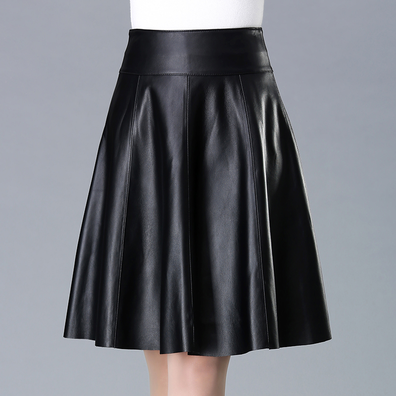 Lautaro Pleated black leather skirt women High waisted faux leather skirts Plus size clothing for women Knee length skirt 6xl image