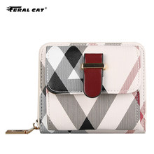 Feral Cat Lovely PVC Leather Short Women Wallet Fashion Girls Purse Money Coin ID Card Holders Wallets Ladies Clutch(China)