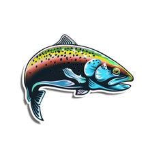 Interesting car sticker accessories 3d rainbow trout fish animal