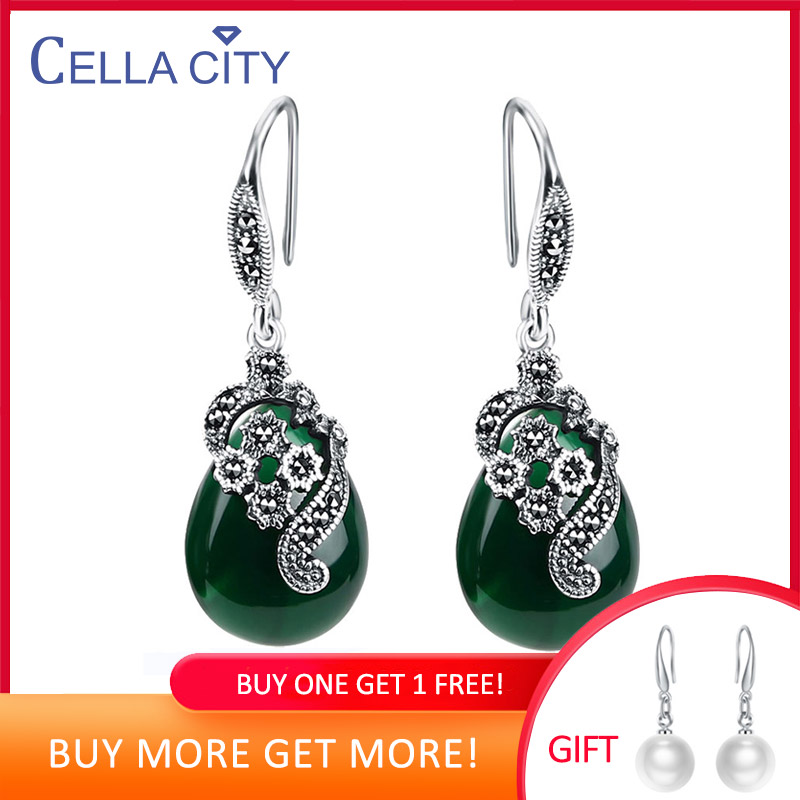 Cellacity Vintage Silver 925 Jewelry Water Drop Shaped Gemstones Earrings For Women Emerald Ruby Ear Drops Temperament Party