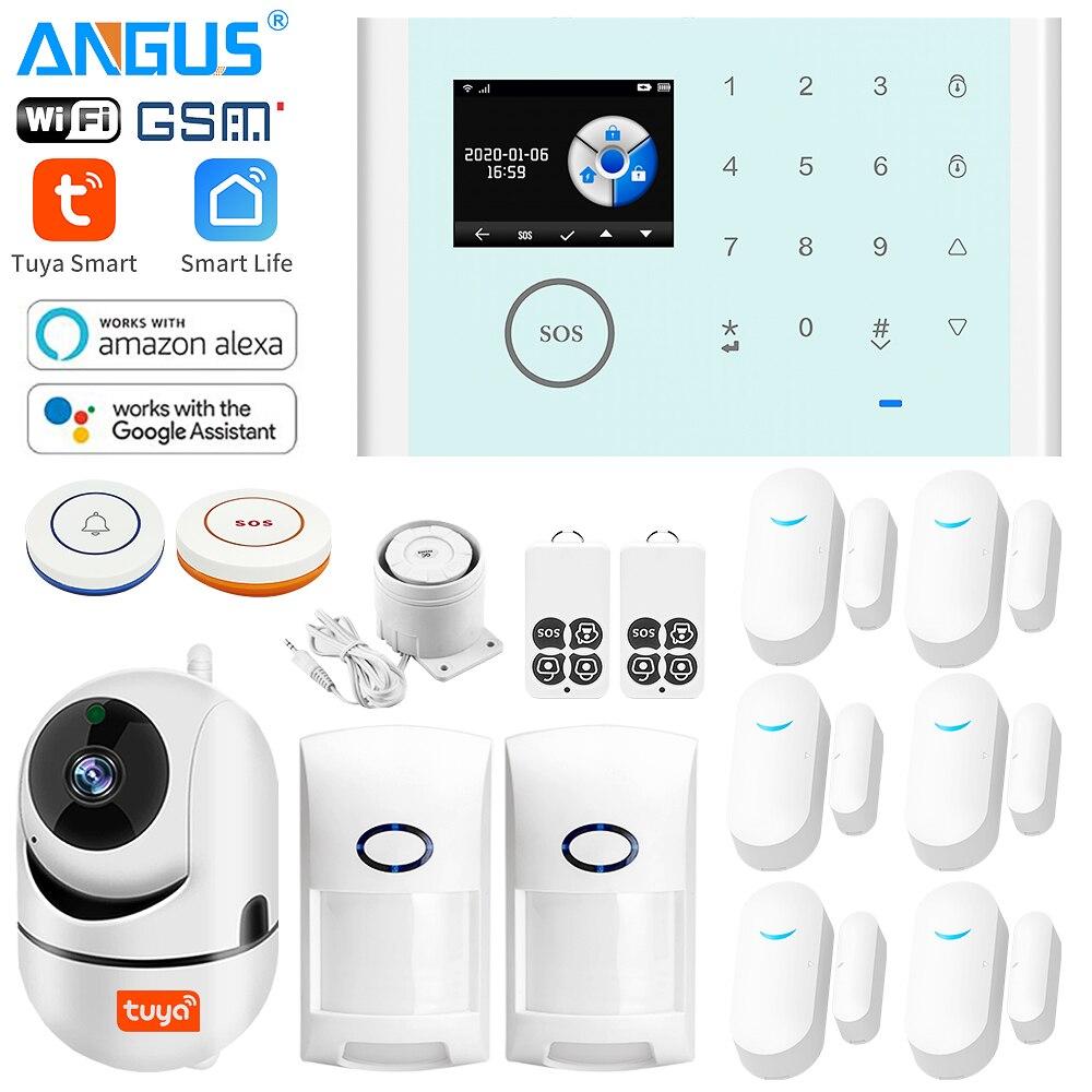 ANGUS Tuya 2,4 Zoll 433Mhz WIFI GSM Home Security Alarm System Kompatibel mit Alexa Drahtlose Einbrecher Alarm App Control detektor