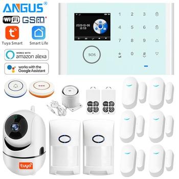 ANGUS Tuya 2.4 Inch 433Mhz WIFI GSM Home Security Alarm System Compatible with Alexa Wireless Burglar Alarm App Control Detector digoo dg hama all touch screen alexa version 433mhz gsm