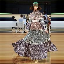 Кружевное Цветочное платье Хобо с рукавами, весна лето 2020, новые высококачественные женские пляжные Повседневные Вечерние длинные платья