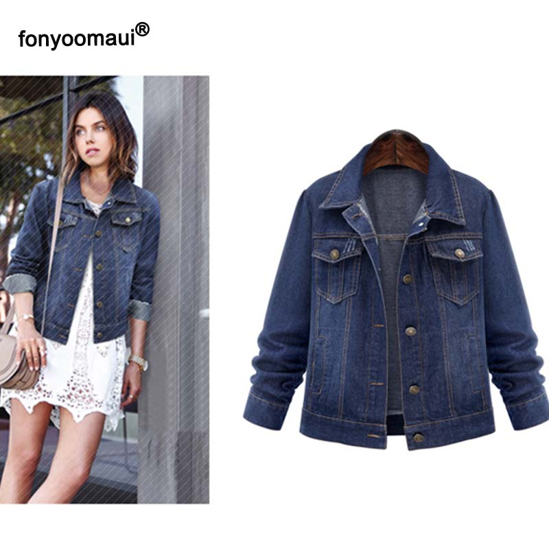 Womens Oversized Blue Cropped Denim Jacket Casual Womens Long-Sleeve Jeans Style