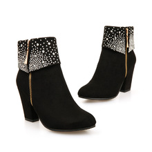 Ankle-Boots High-Heel Women Winter Shoes Size-34-43 Zip Crystal for Red