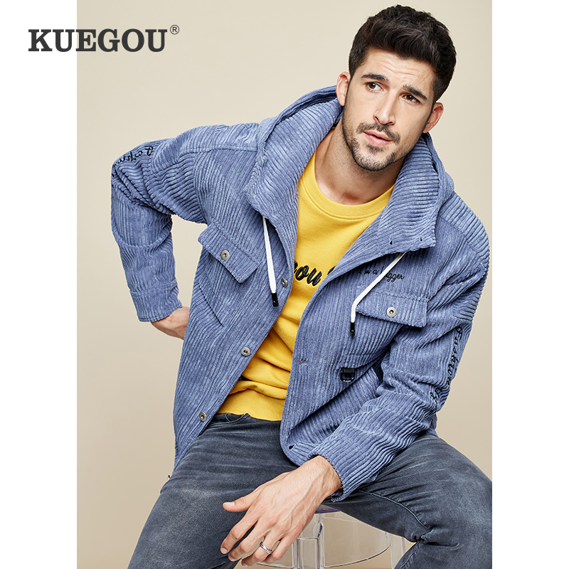 KUEGOU Men's Spring Corduroy Jacket Autumn Winter Men's Thick Hooded Jacket Multiple Pockets Fashion Handsome Jacket  UW-0951