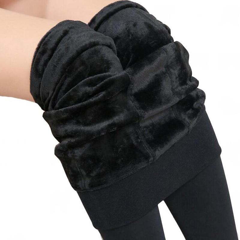 VIIANLES Winter Pants Warm Velvet Trousers Women High Waist Pant Elastic Thickening Female Tight Girl Skin Black Pencil Pants