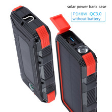 Solar Power Bank Case DIY Box Dual USB Kit  Flashlight For xiaomi TypeC PD+QC3.0 Powerbank Portable Waterproof Solar charger