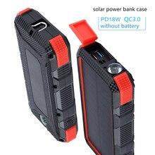 Solar Power Bank Fall DIY Box Dual USB Kit Taschenlampe Für xiaomi Rollenmaschinenlinie Typc PD + QC 3,0 Power Tragbare Wasserdicht solar ladegerät