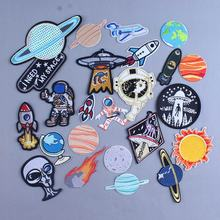 Alien UFO Iron On Patches For Clothing Astronaut Planet Appliqued Stripes Thermo Stickers Clothes Space Patch Kids Shirt