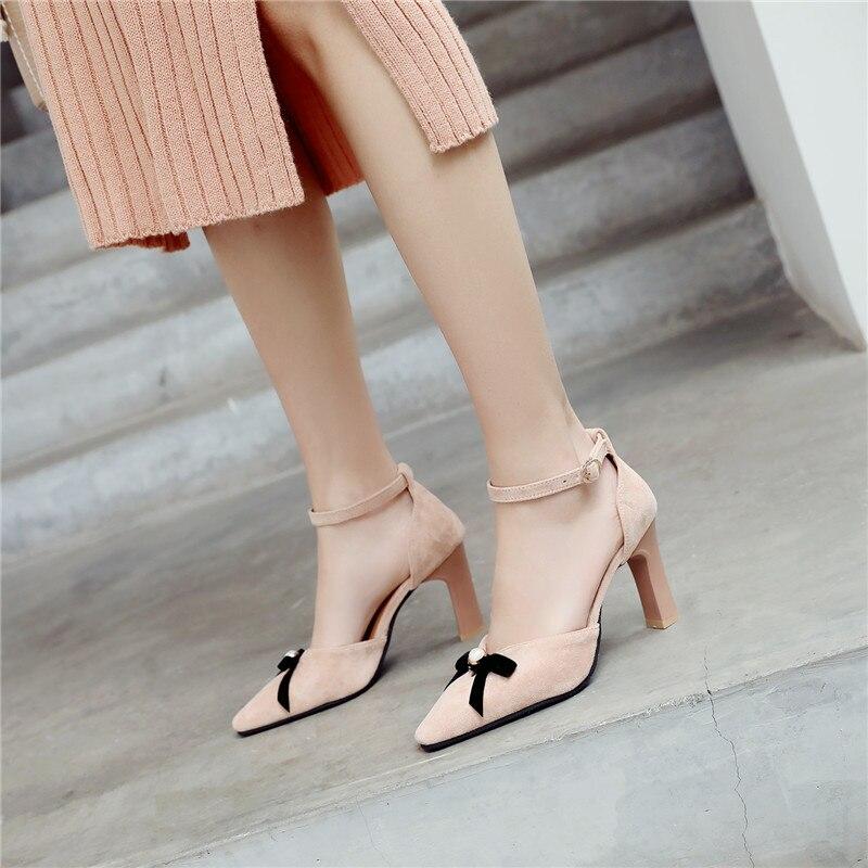 2019 Summer Ankle Strap Ladies Shoes Bowtie Lolita Beige Black Heels Womens Shoes Plus Size Ladies Pumps Office Party