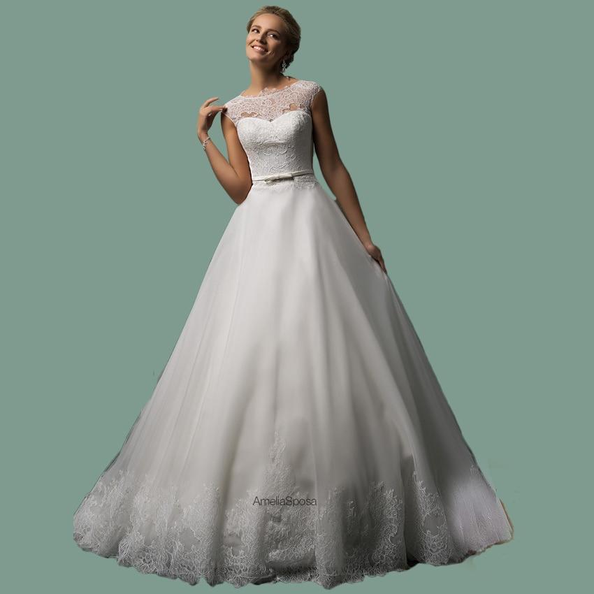 Vestido De Noiva 2015 Hot Sale Scoop Neckline Ivory Lace Wedding Dress Sleeves Long Train Bridal Gowns Vestido Noiva Dia
