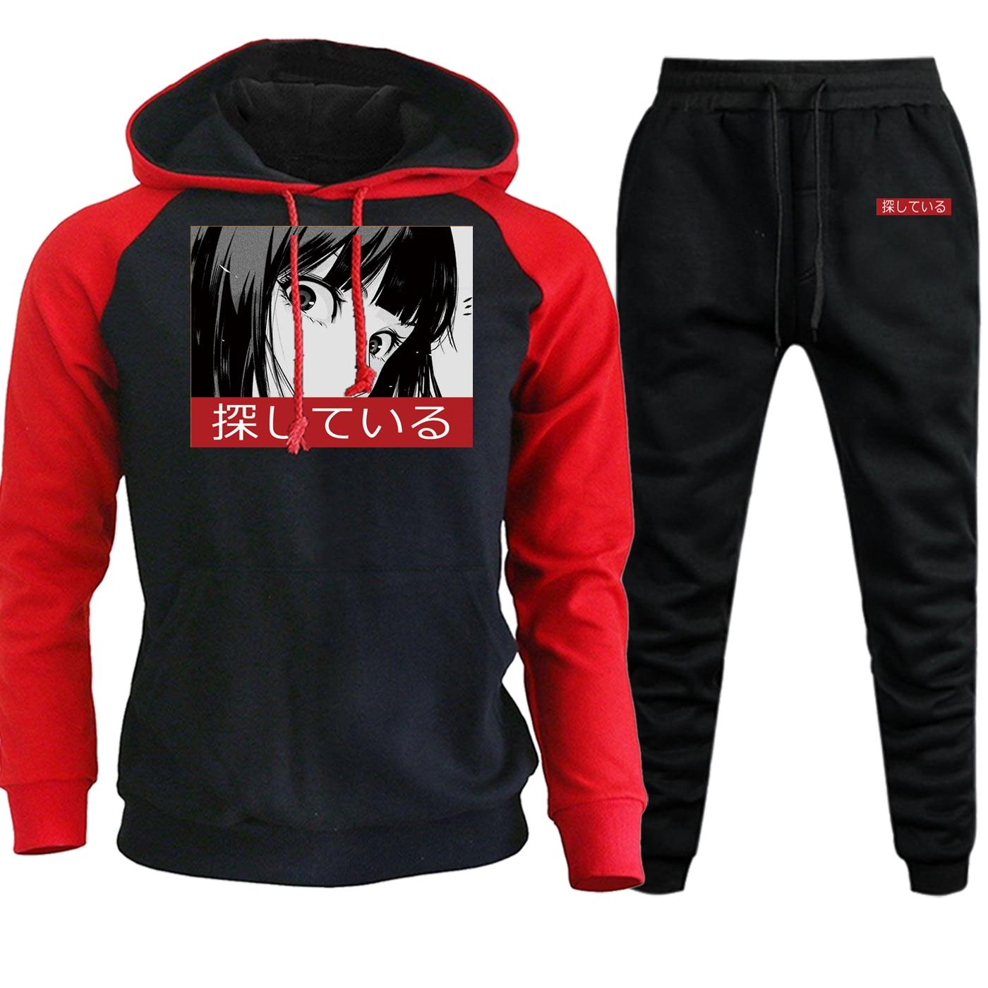 Mens Raglan Hooded New 2019 Autumn Winter Cartoon Anime Sportswear Hoodies Fashion Hip Hop Suit Casual Hoodies+Pants 2 Piece Set