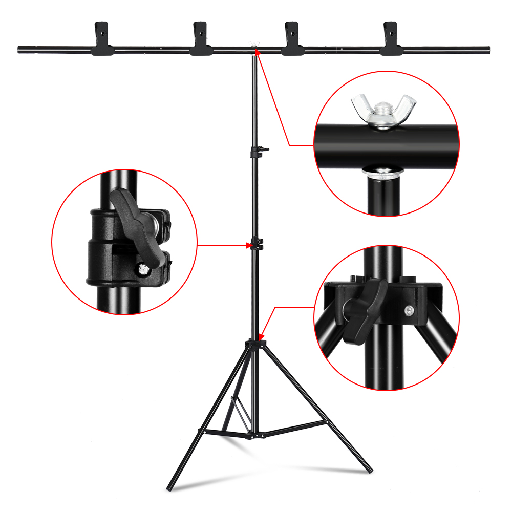 Photography T-shape Background Stand Adjustable Backdrop Frame Multiple Sizes Support System Kit For Photo Studio Shooting