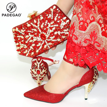 Hot Selling African Design Italian Women Shoes and Bag Set Nigerian Ladies Matching Shoes and Bag Comfortable Heels in Red