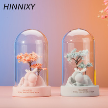 Hinnixy Creative Resin Flower Night Lamp Pink Grey Colorful Desktop Craft Romantic Bedroom Decor Children Girl Bedside Lamp