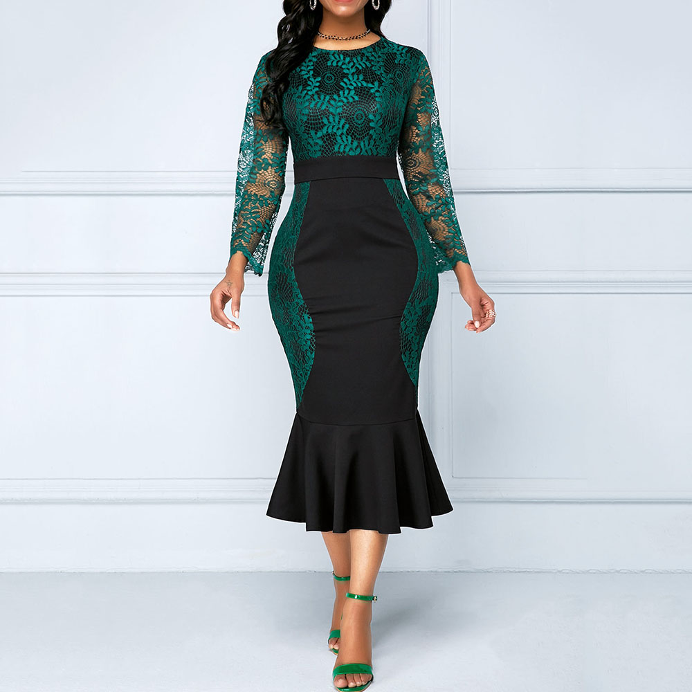 Women 2019 Green Elegant Mermaid Dress Long Sleeve Lace Maxi Dresses Plus Size High Waist Patchwork Cocktail Dress