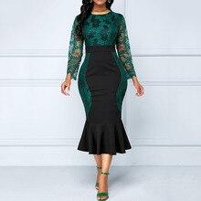 цена на Women 2019 Green Elegant Mermaid Dress Long Sleeve Lace Maxi Dresses Plus Size High Waist Patchwork Cocktail Dress