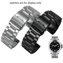 Thickened stainless steel watch strap adapted to Penerai mens steel band PAM111 black replacement chain 22mm 24mm