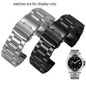 Image 1 - 肥厚ステンレス鋼腕時計ストラップpeneraiに適合させる男性の鋼バンドPAM111 黒交換チェーン 22 ミリメートル 24 ミリメートル