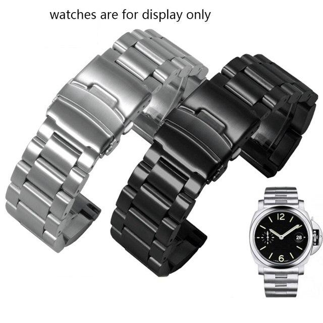 肥厚ステンレス鋼腕時計ストラップpeneraiに適合させる男性の鋼バンドPAM111 黒交換チェーン 22 ミリメートル 24 ミリメートル