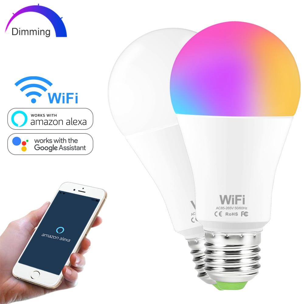 15W Colors/Brightness Dimming WIFI Smart Light Bulb E27 B22 LED RGB lampada 110V 220V Lamp Compatible with Alexa/ Google Home