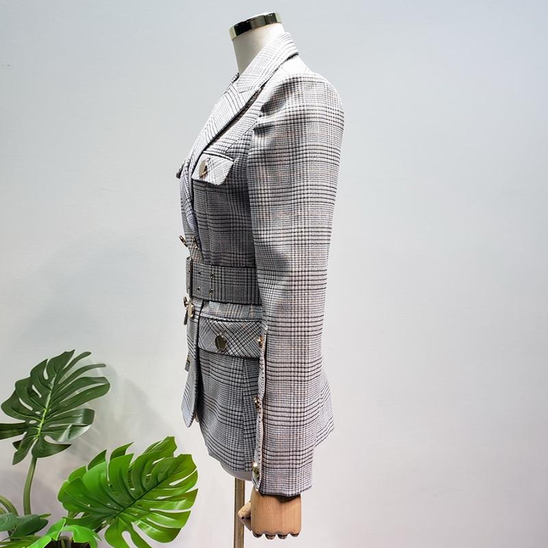 HOHE QUALITÄT Neue Mode 2019 Designer Blazer frauen Schnürung Gürtel Zweireiher Plaid Blazer Jacke - 3