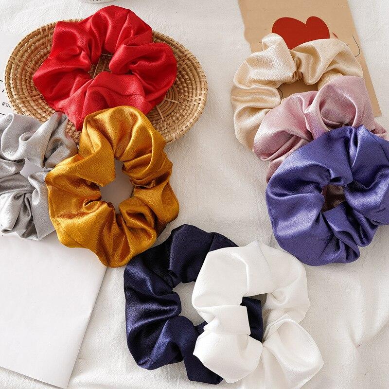 Neue Kommen Satin Scrunchies Einfarbig Elastische Haar Bands Riegel-pferdeschwanz Silk Haarschmuck Hair Stirnbänder Headwear Rot