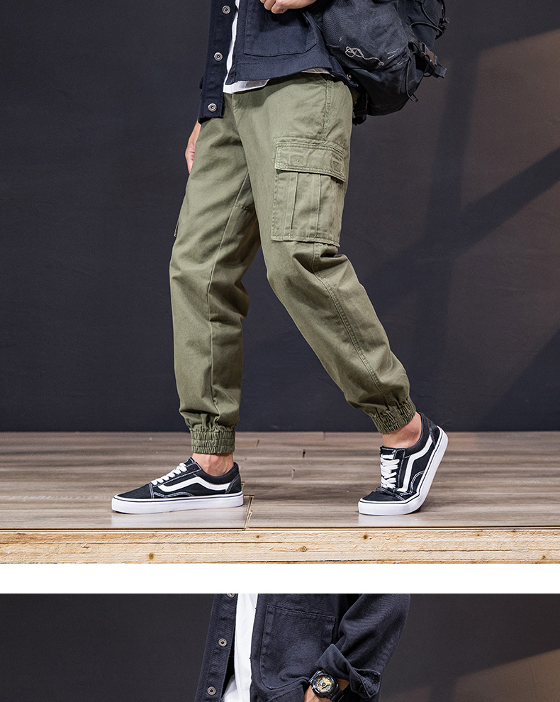 KSTUN Cargo Pants Men 100% Cotton Baggy Military Pants Khaki Camouflage Pants Casual Man Trousers Loose fit Streetwear Men Joggers 22