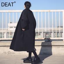 Jacket Trench-Coat DEAT Black Long Large-Size Women High-Quality Windbreaker Autumn European