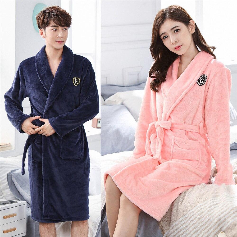V-neck Sleepwear Nightgown Women&men  Home Clothing Flannel Winter Nightdress Homewear Kimono Coral Fleece Sleepwear Robe